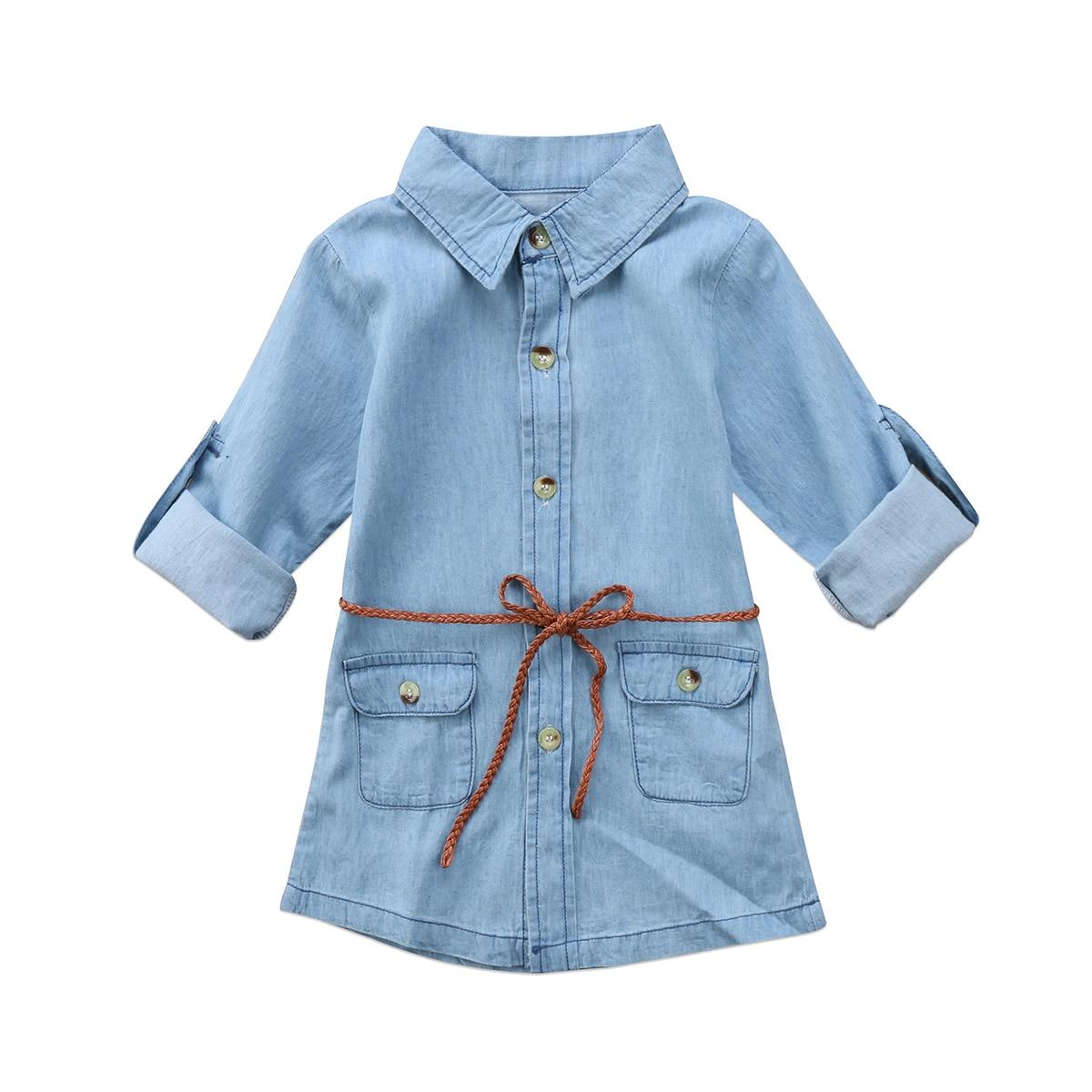 2017 Casual Cute Kids Girl Jeans bolsillo de tela vaquera manga larga Camiseta suelta camisa Mini vestido + cinturón 2 uds tamaño 3-7T