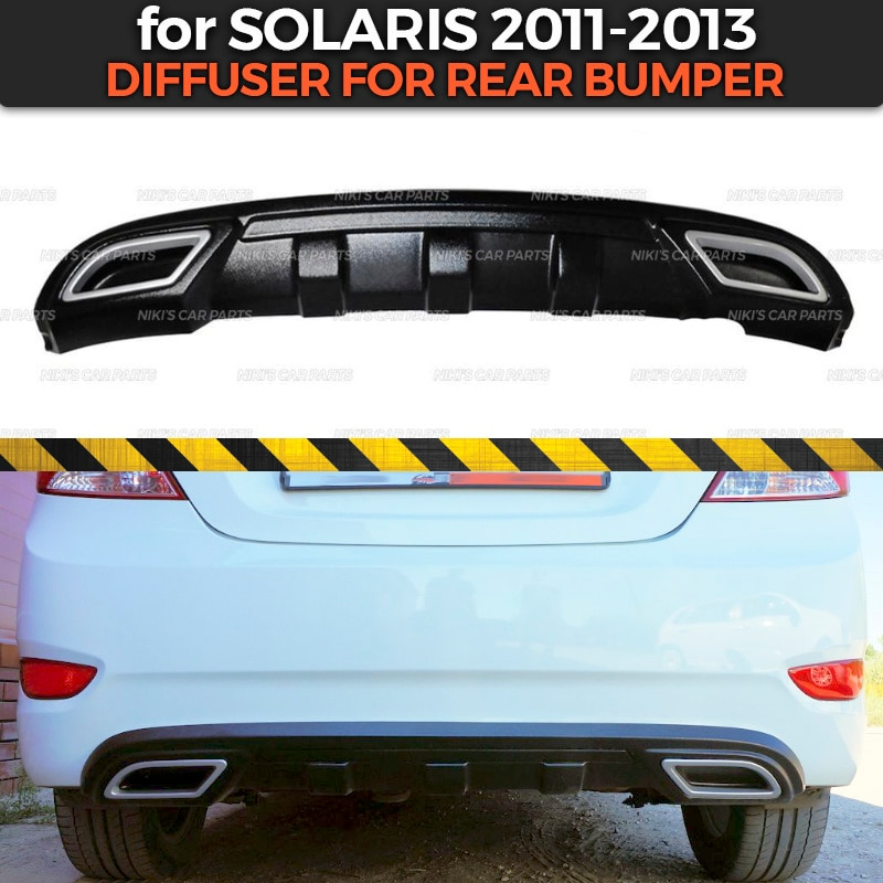 Diffuser for Hyundai Solaris 2011-2013 of rear bumper ABS plastic body kit aerodynamic pad decoration car styling tuning