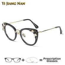 Precious Stones Cat Eye Glasses Frame Eyeglasses Prescription Spectacles for Women Eyewear Monturas