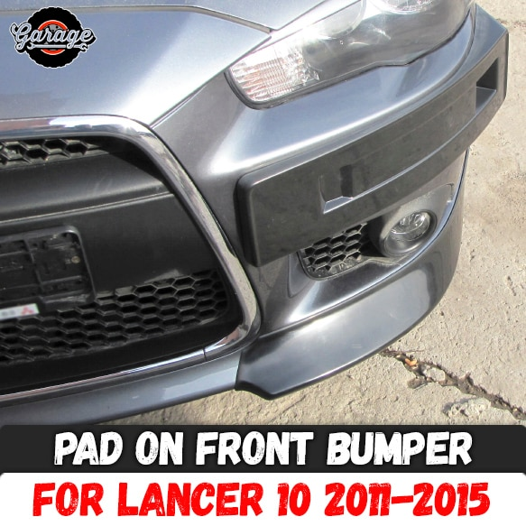 Pad on front bumper for Mitsubishi Lancer 10 2011-2015 ABS plastic podium of license plate cover acc