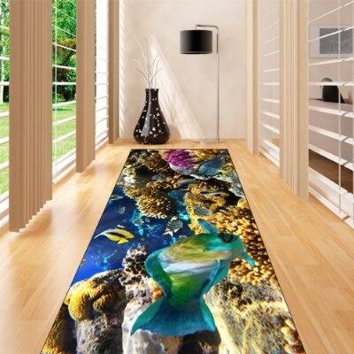Else Blue Sea Tropical Aquarium Fishes 3d Print Non Slip Microfiber Washable Long Runner Mats Floor Mat Rugs Hallway Carpets