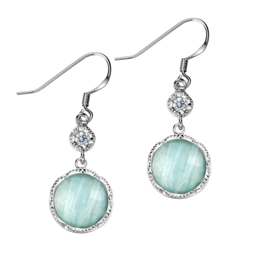 Dormith  real 925 Sterling silver earring Natural  Amazonite earring  drop earrings for women gemstone jewelry