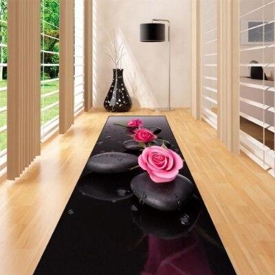 حصيرة سبا من الألياف الدقيقة غير قابلة للانزلاق ، سجادة أرضية طويلة قابلة للغسل ، مع ورود وردية وزهور ثلاثية الأبعاد ، سجادة للممر