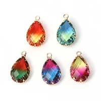 doreen box glass pendants water drop hit color faceted metal charms wedding party for women diy making earrings jewelry4pcs