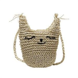 Women Straw Bag Summer Hot Female INS Popular Cat Mini Handbag Travel Fashion Ladies Tote Handmade Weave Crossbody Bags SS3142