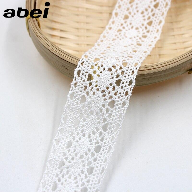 5 yardas/lote 3,5 cm de algodón blanco adornos de encaje para manualidades cinta para el hogar artesanía de boda hecha a mano Patchwork accesorios de tela