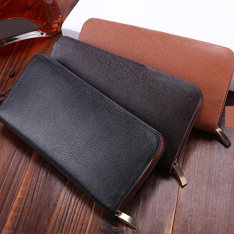 Mode hommes daffaires Zipper portefeuille mâle pochette en cuir synthétique polyuréthane porte-monnaie longue porte-carte didentité sac de carte 2018 nouveau Gentale homme sac