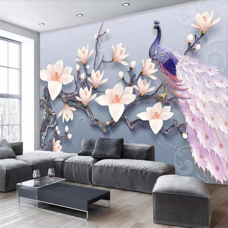 زهرة الطاووس الطازجة الأوروبية التلفزيون خلفية المهنية إنتاج جدارية مصنع الجملة خلفيات جدارية المشارك الصورة جدار