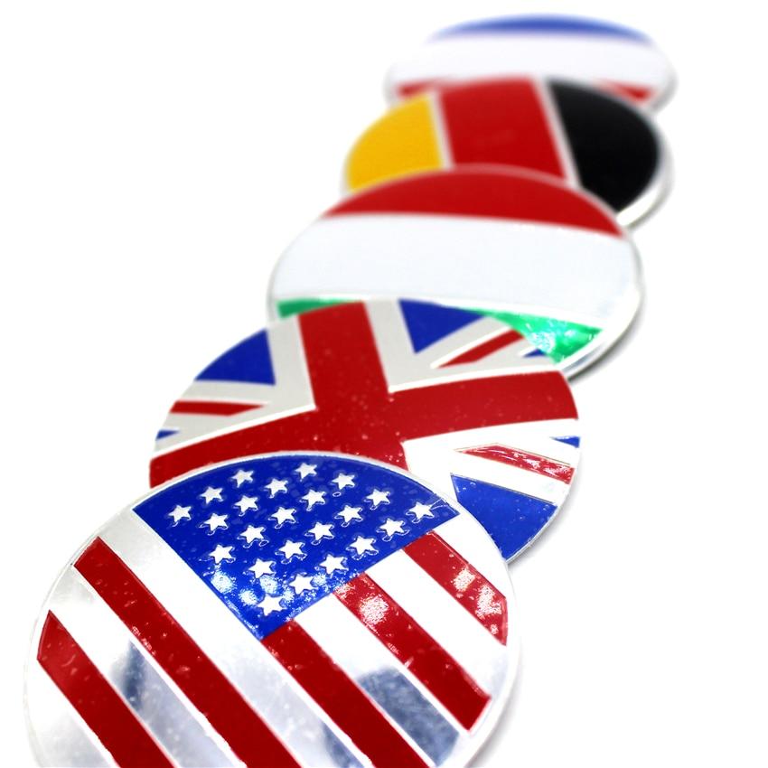 4pcs England UK America USA France Germany Italy Nation Flag Car Door Wheel Center Hub Caps Cover Rim Sticker Badge Fit Styling