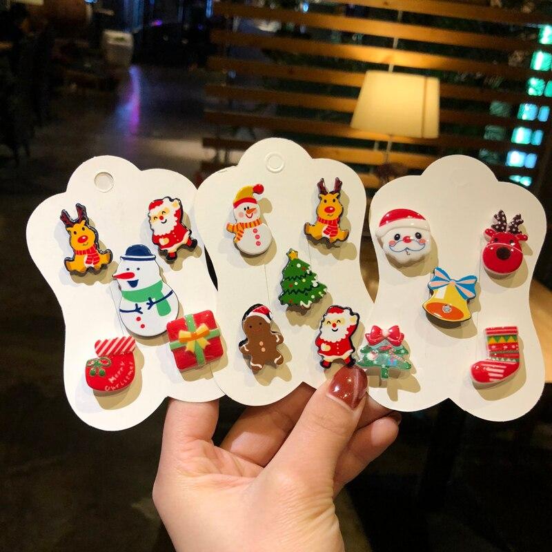 5 unids/pack-encantador dibujos animados de Navidad broche Super lindo Mini Pin personalidad adornos para las niñas y los niños