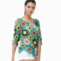 h80s90 new 2019 women sexy handmade crochet hollow out hook floral ladies beach cover up blouse shirt loose casual pullover