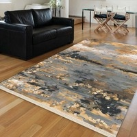Else Yellow Gray Vintage Abstract 3D Anti Slip Washable Decorative Boho Bedroom Floor Rug Bohemian Living Room Outdoor Carpet