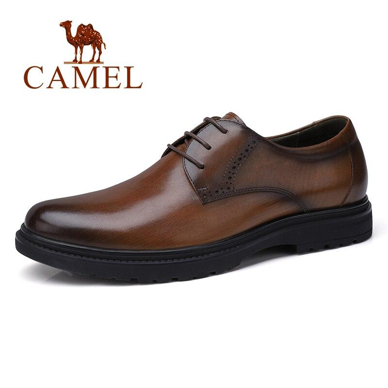 Homens de negócios camelo sapatos casuais sapatos escritório/casamento couro genuíno retro inglaterra masculino queimado cor do vintage sapatos