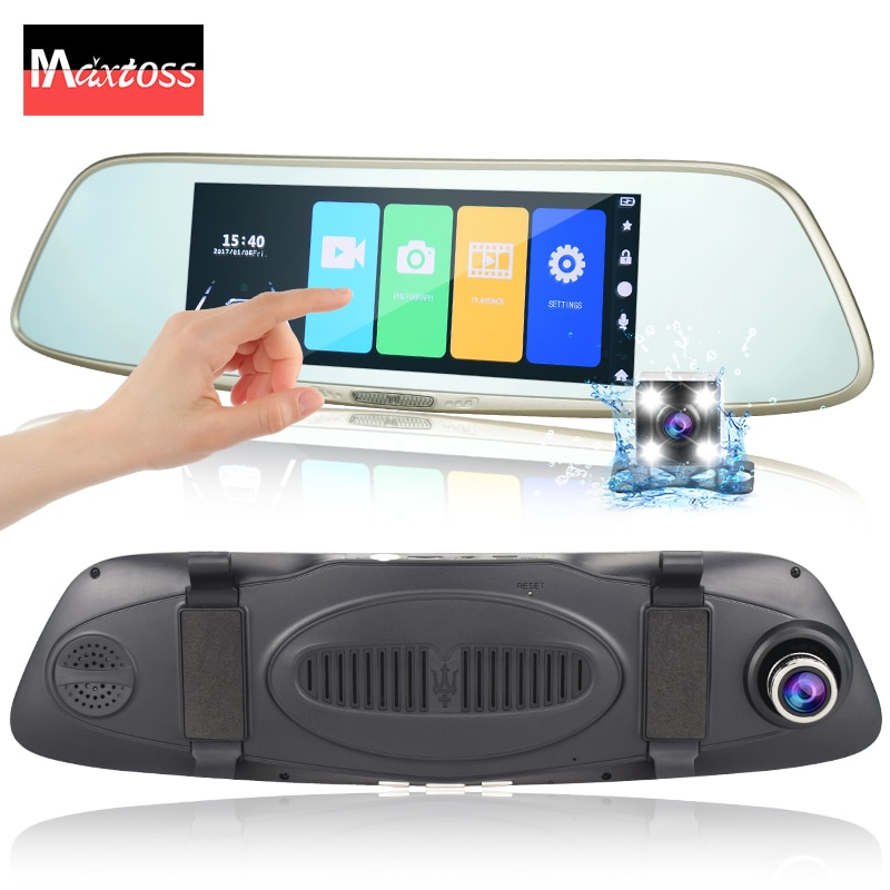 "7 ""pantalla táctil de doble lente de coche DVR espejo retrovisor Auto DVRs FHD1080p Dash Cámara noche aparcamiento grabadora registrador Cam"