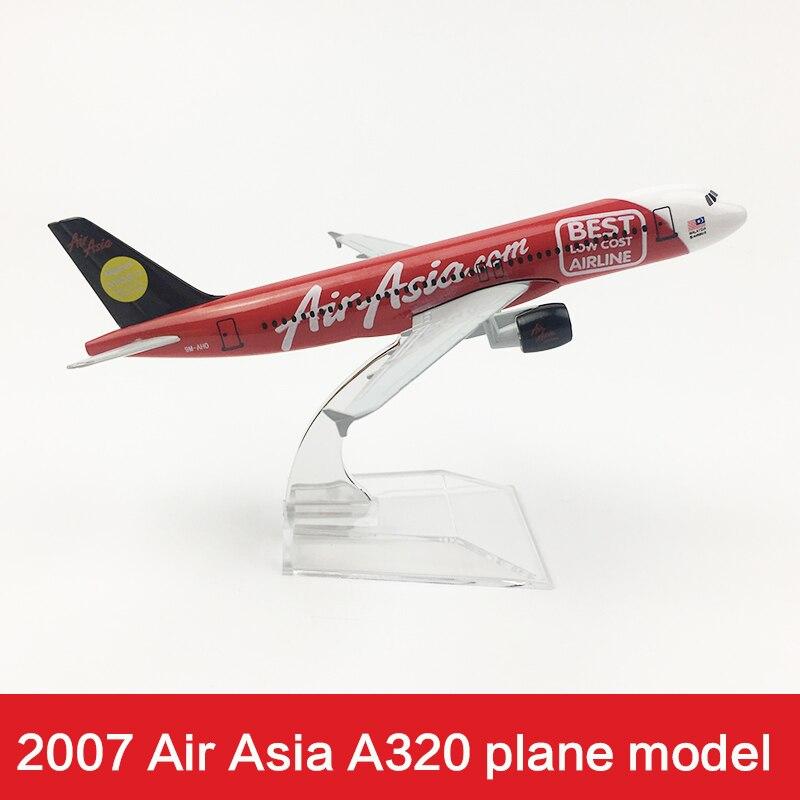 16cm Air Asia Airlines aeroplano mejor modelo 2007 A320 Air Asia Metal Diecast aviación Modelo 1400 Airway aviones modelo escala juguete