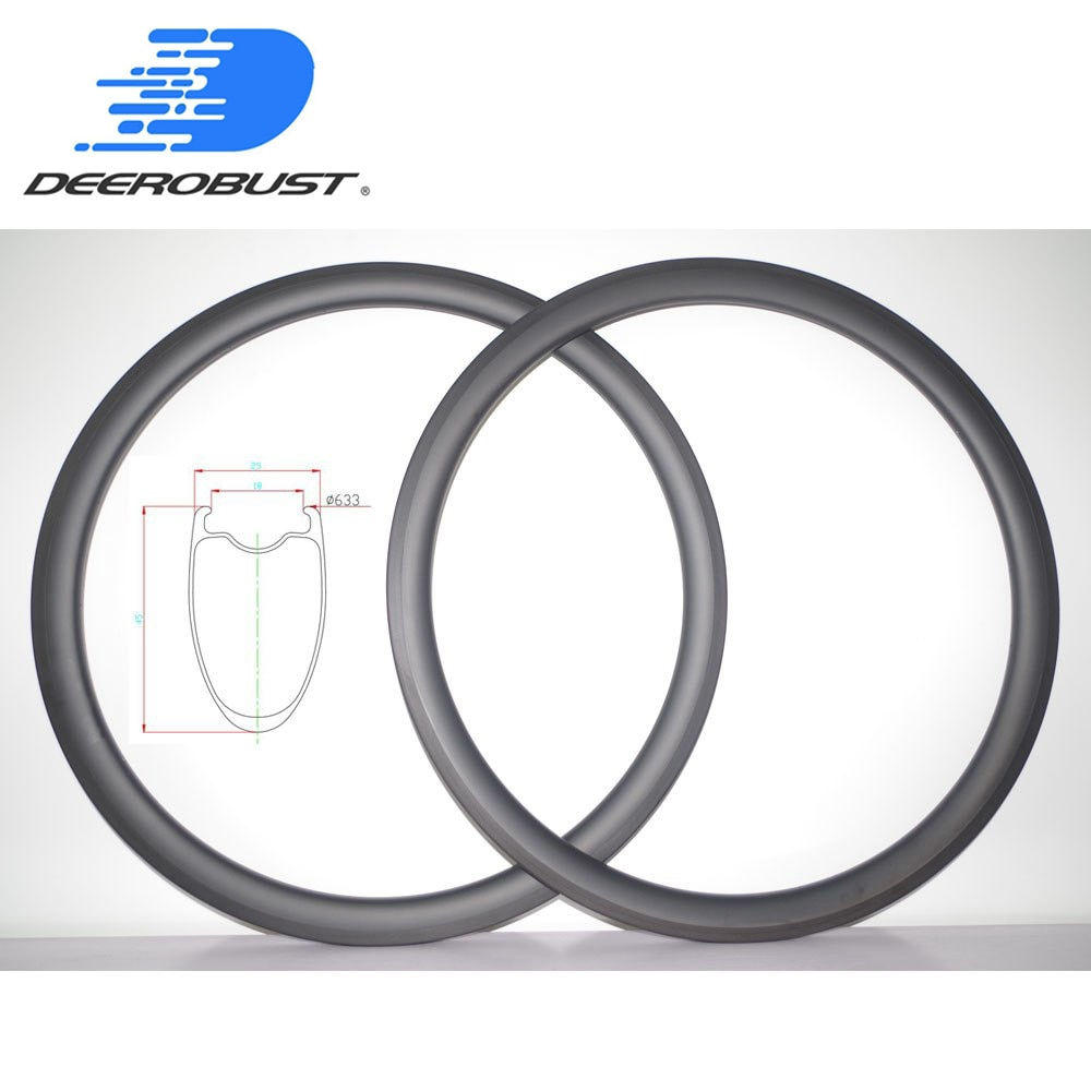 410g 700c 45mm Deep 25mm wide Carbon Road Bike Rims Tubeless Clincher Bicycle Rim Racing Wheel Basalt Brake Surface 20 24 Holes