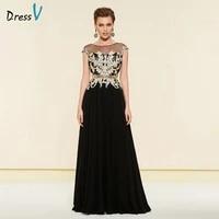 dressv elegant black scoop neck a line mother of bride dress floor length zipper up long mother evening gown custom