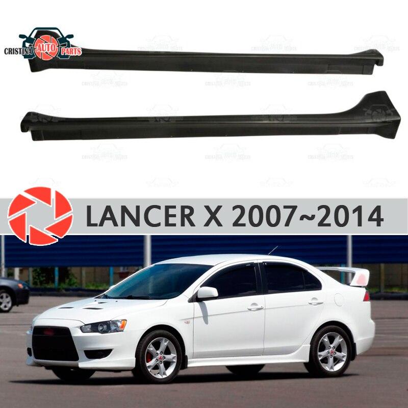Side skirts for Mitsubishi Lancer X 2007-2014  external thresholds of doors thresholds aerodynamic linings body kit car styling