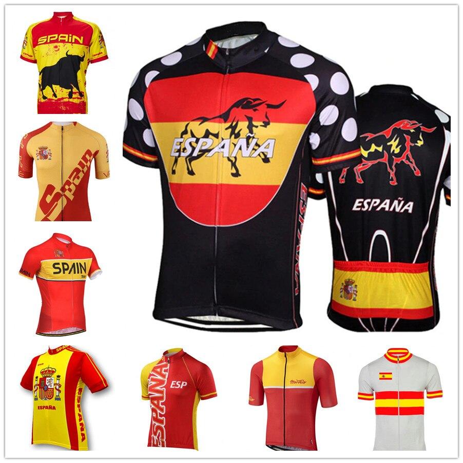 Jerseys de Ciclismo de manga corta de secado rápido para equipo de España, Ropa de Ciclismo, bicicleta de carretera, Maillot, Ropa de Ciclismo para hombres, Jersey de bicicleta