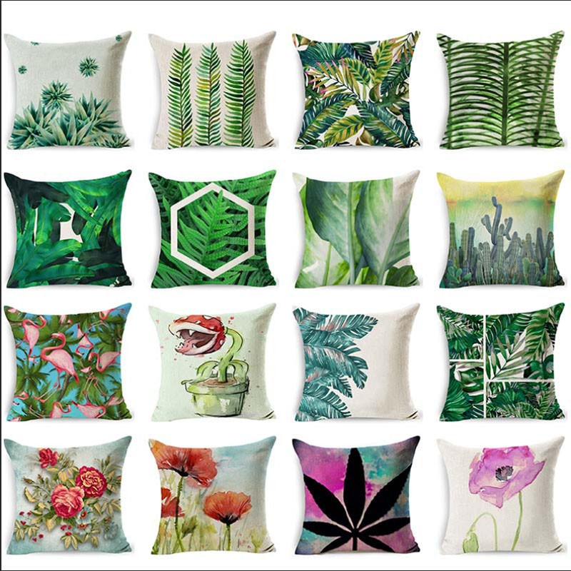 "18"" quality Home decorative pillows cotton linen throw pillow green leaves print cozy seat back cushion bedding pillowcase LXC"