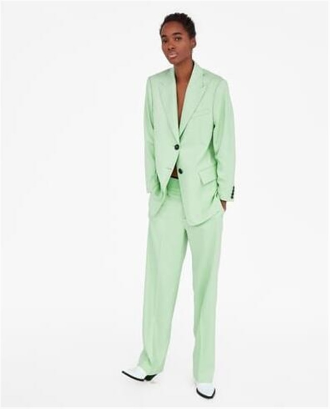 Mint Peak Lapel Women Pantsuit Jacket Women Fashion Long Sleeve Suit Women Elegant Tailored Collar Jacket Suits Female Ladies