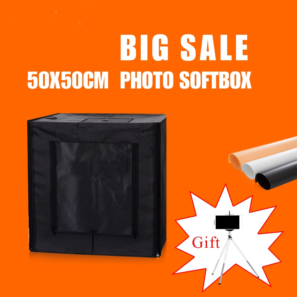 50X50X50CM Dimmable Led Photo Box Softbox Studio Photography Light Rent Lighting Room Portable With Free Gift