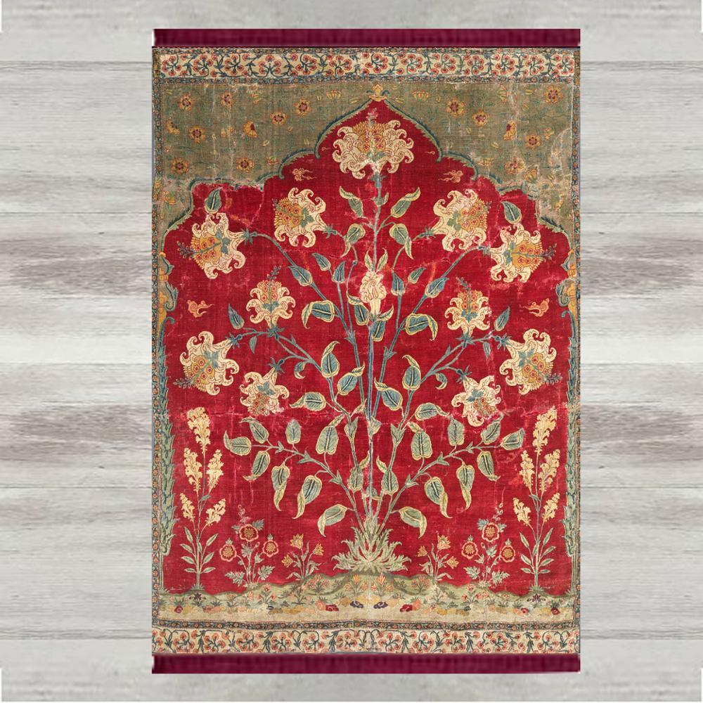 Else, alfombra para rezos musulmanes turcos, estampado 3d de flores florales, tapete antideslizante moderno para rezar, regalos de Eid de Ramadán