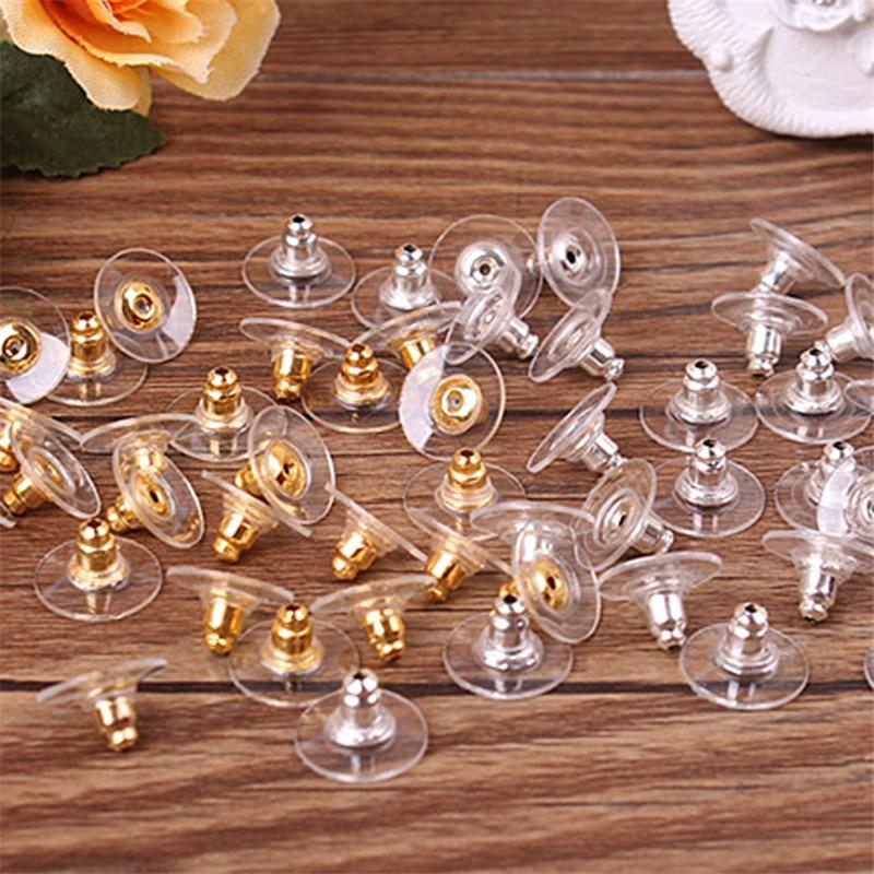 50 unids/bolsa pendiente Durable película tapones para los oídos colores oro plateado accesorios de joyería encantadores