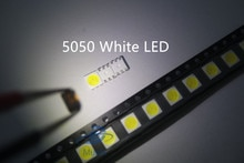 100 stücke 5050 Weiß SMD/SMT LED PLCC-6 3-CHIPS 5050 smd led 60MA Mid-power 10-18LM 0,2 W