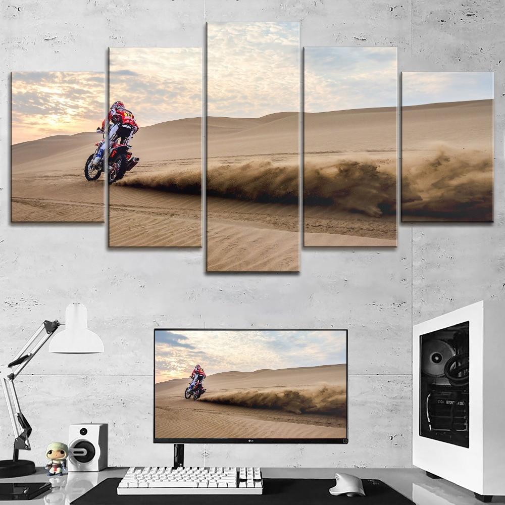 5 piezas de pintura de arena para motocicletas de dunas del desierto, arte de pared moderno, lienzo de primera categoría, tipo de impresión, póster grande Modular