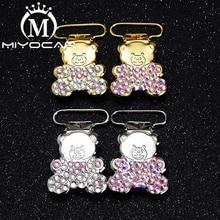 MIYOCAR  unique design bling bear shape pacifier clip dummy clip pacifier holder good quality handmade material SP024