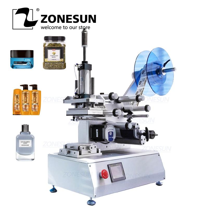 ZONESUN Semi-automatic XL-T802 Model PET Plastic Tin Can Glass Water Milk Juicer Flat Bottle Labeling Machine
