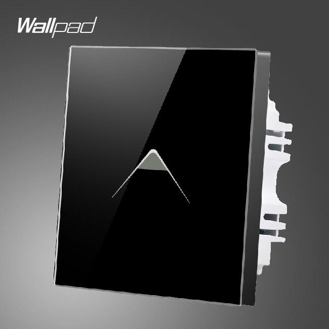 Interruptor de hogar inteligente Wallpad 110-250V UK negro Interruptor táctil de vidrio templado 1 gang 2 maneras, Envío Gratis