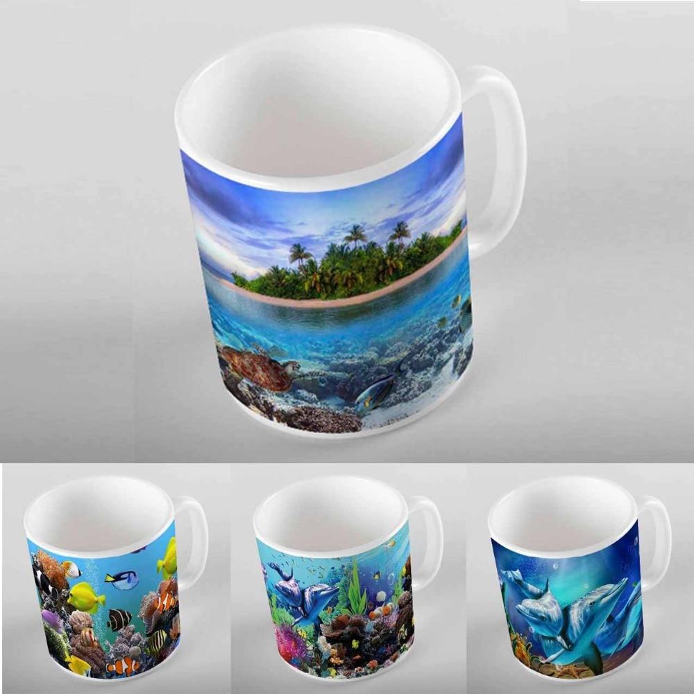 Peces de acuario azul más bajo el mar Tropical Impresión Digital 3D taza moderna de cerámica turca taza de café té leche