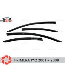 Fenster deflektor für Nissan Primera P12 2001-2008 regen deflektor schmutz schutz auto styling dekoration zubehör molding