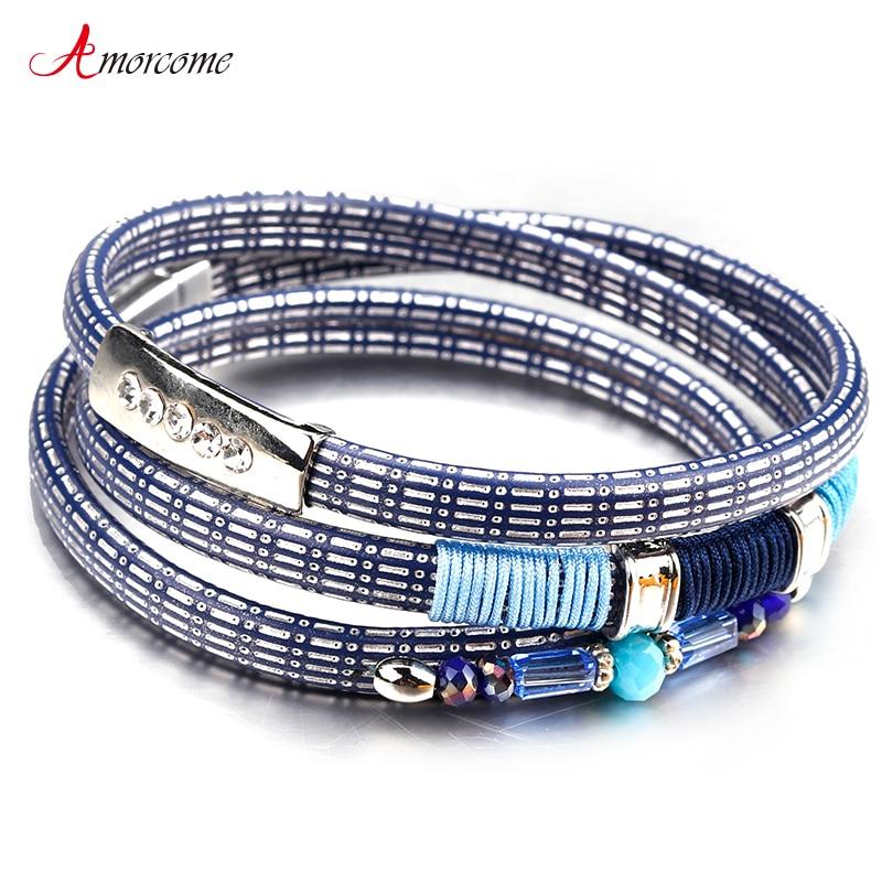 Amorcome pulsera de cuero hecha a mano para mujer, pulseras y brazaletes de cristal de aleación de múltiples capas Vintage para mujer