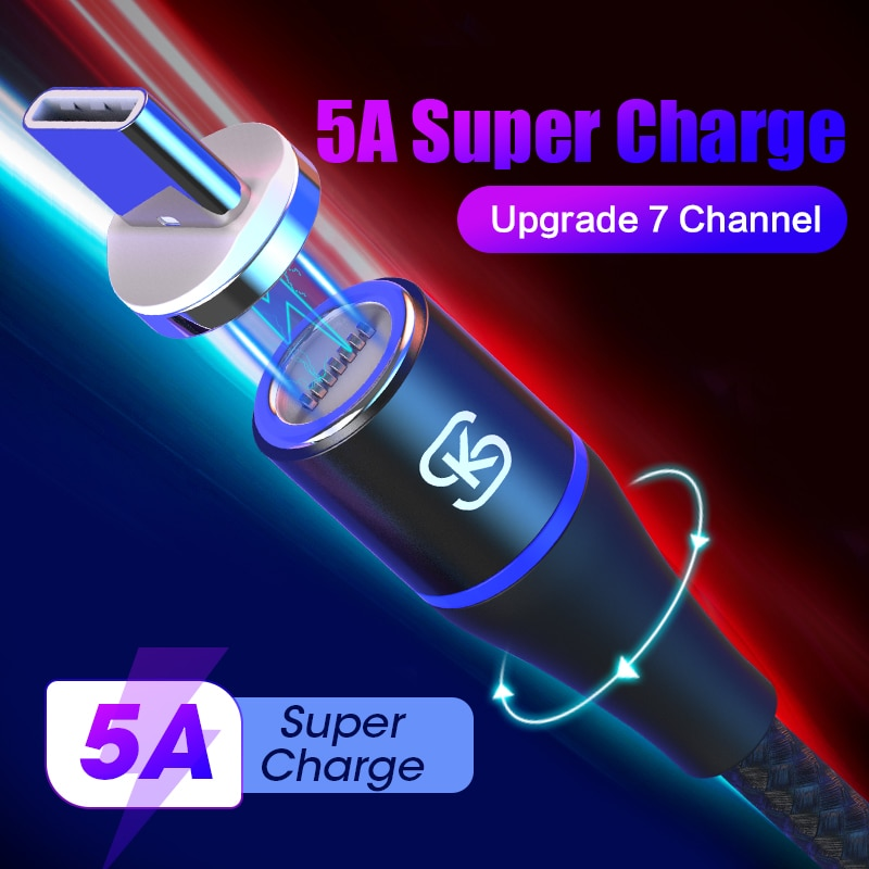 SIKAI 3 в 1 5А Магнитный кабель USB быстрая зарядка автомобильное зарядное устройство кабель для huawei honor view 20 USB C 5A QC4.0 для honor 10 30pro