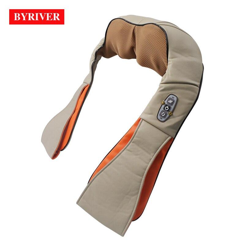 Masajeador de hombro y cuello BYRIVER Shiatsu, aparato para masaje de piernas con calor infrarrojo, alivio del dolor y estimulación de la circulación sanguínea