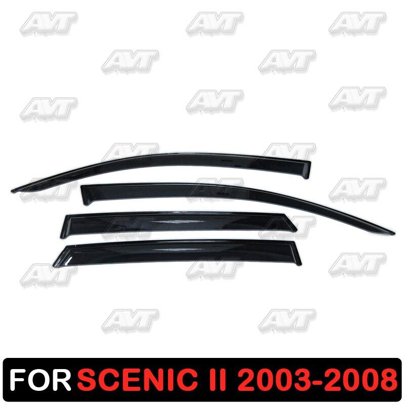 Window deflectors for Renault Scenic 2 2003-2008 1 set-4 pcs car styling wind decoration guard vent visor rain guards cover