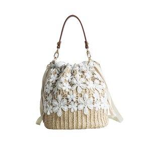 Women Summer Beach Handbag INS Popular Female Straw Bags Flower Lady Travel Weave Shoulder Bag Vintage Knit Crossbody SS3103