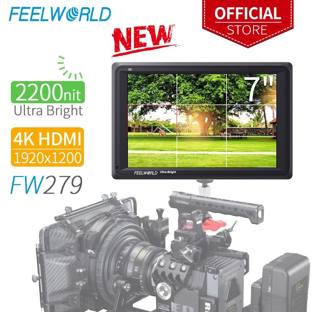 FEELWORLD FW279 7 Inch Ultra Bright 2200nit on Camera Field DSLR Monitor Full HD 1920x1200 4K HDMI Input Output High Brightness