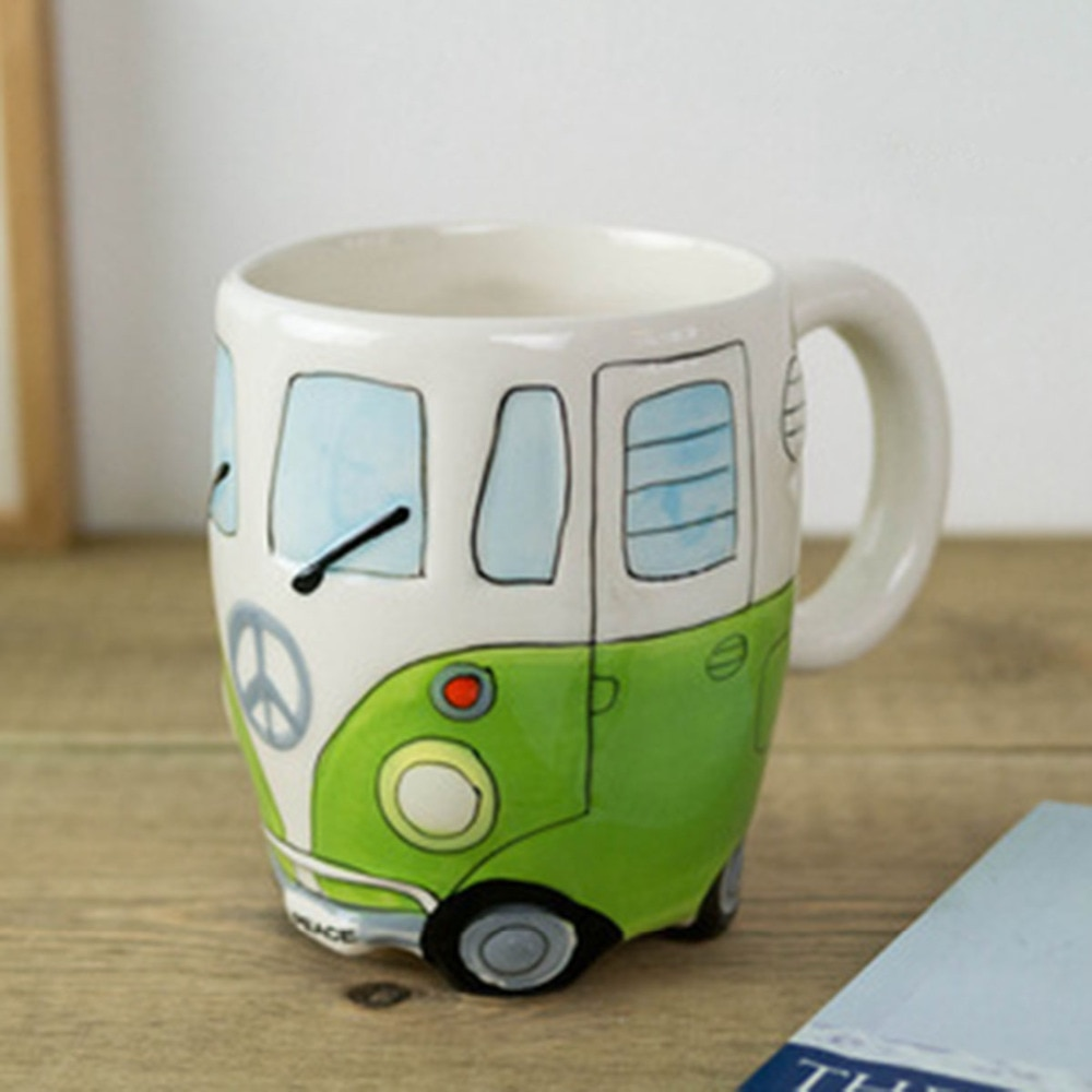 Tazas de cerámica de dibujos animados, pintura a mano, taza de autobús Retro de dos pisos, taza de café, té de la leche, botella de agua, bebida, regalo novedoso