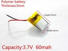 3.7 V, 60 mAH, 501215 PLIB, polimerowa bateria litowo-jonowa/akumulator litowo-jonowy do GPS, mp3, mp4, mp5, dvd,, model toy