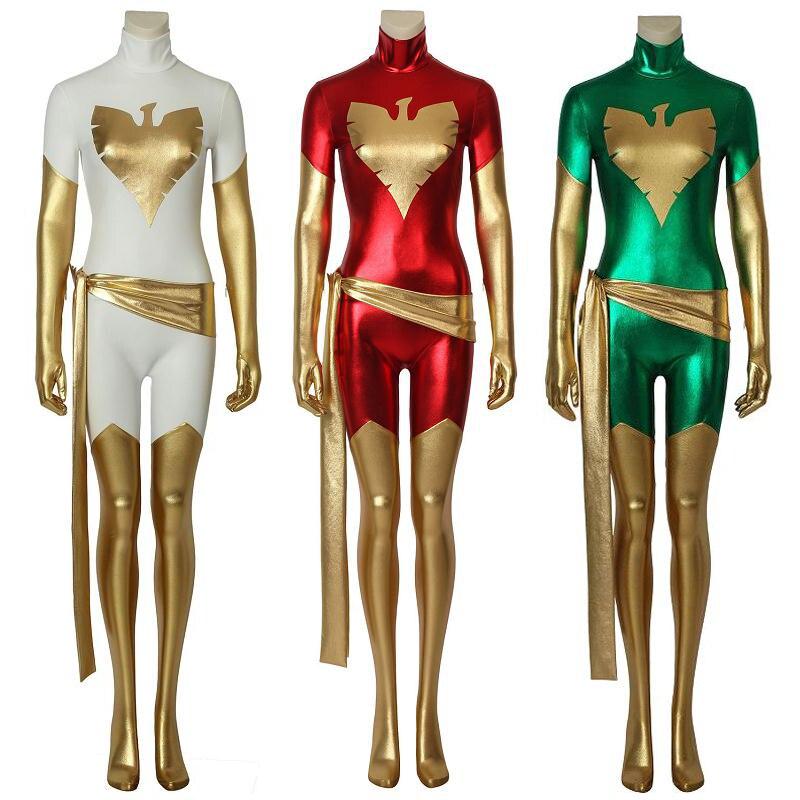 Disfraz de x-men de Fénix oscuro, disfraz de Fénix blanco, superhéroe de Marvel, Mono vaquero gris, mono estampado 3D, mono Zentai para mujer