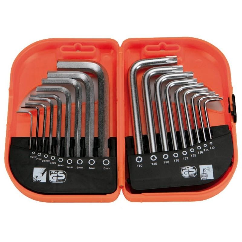 ALYCO 170622 - Juego de 18 llaves combinadas allen t torx inviolable en estuche plastico High Resistance