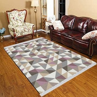 Else Purple Pink Gray Triangles Modern Geometric 3d Print Anti Slip Kilim Washable Decorative Kilim Tassel Rug Bohemian Carpet