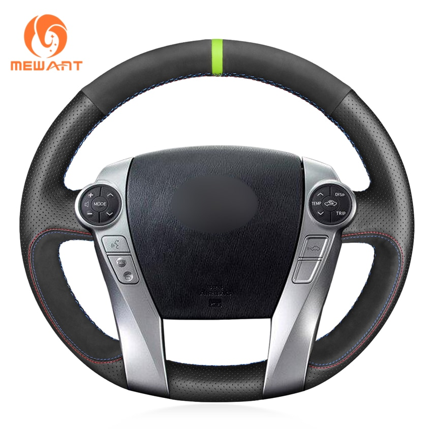 MEWANT, protector de gamuza de cuero genuino para volante de coche para Toyota Prius 30(XW30) Prius + Prius C Prius V 2011-2020 Aqua 2014-2015