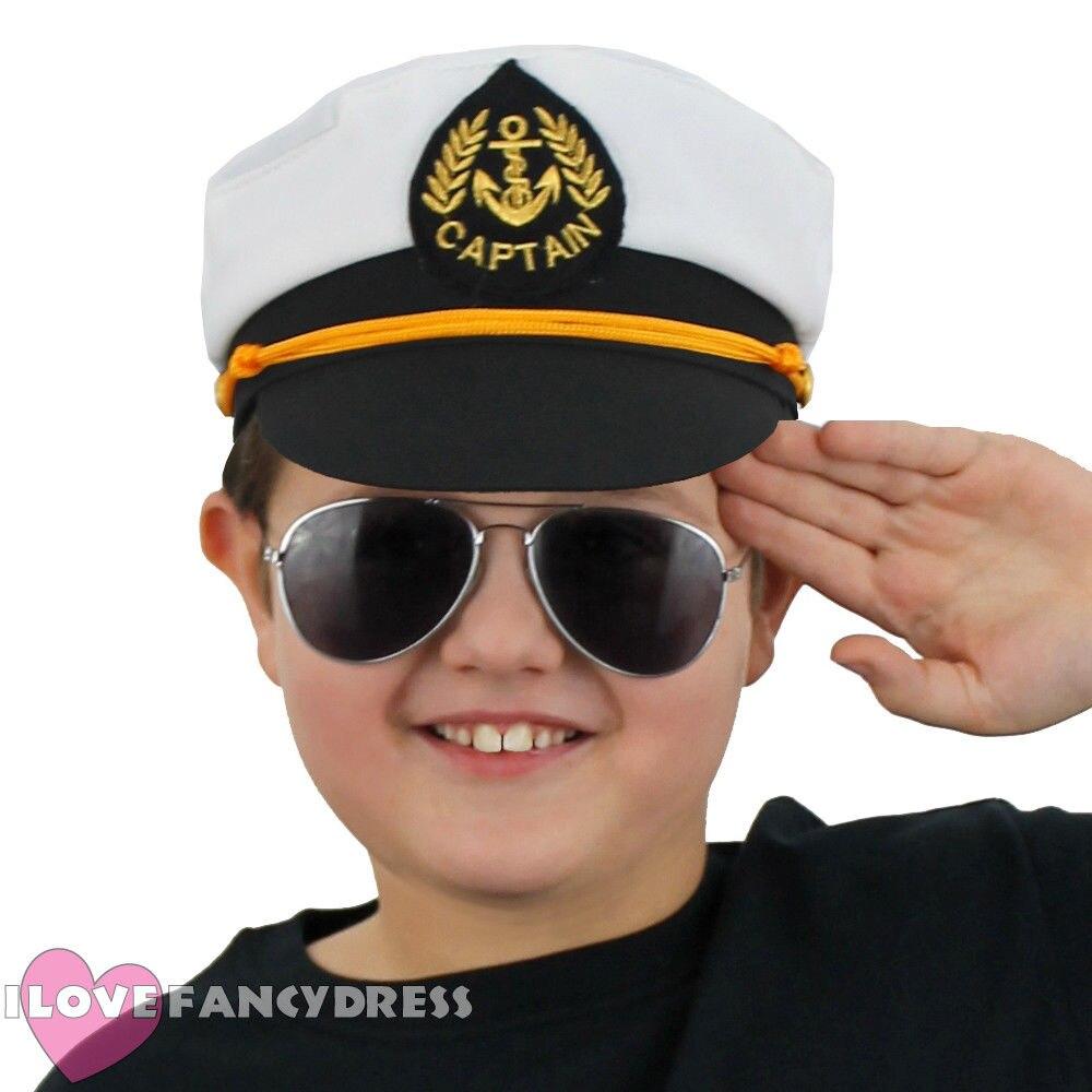Childs branco marinheiros capitão uniforme chapéu para crianças com âncora mar marinha marinheiro fantasia vestido acessório oficial naval marinho
