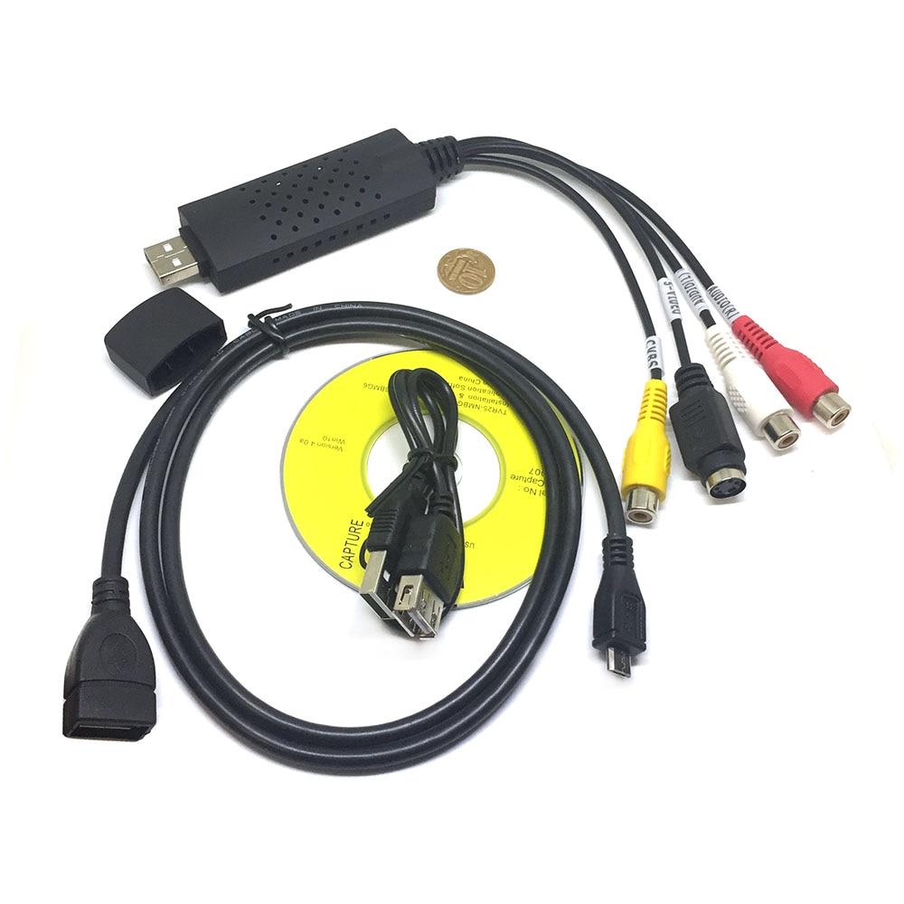 Конвертер Micro USB type B + Usb 2.0 to RCA/S-video плата видеозахвата TV DVD VHS AV аудио для оцифровки видеокассет easycap