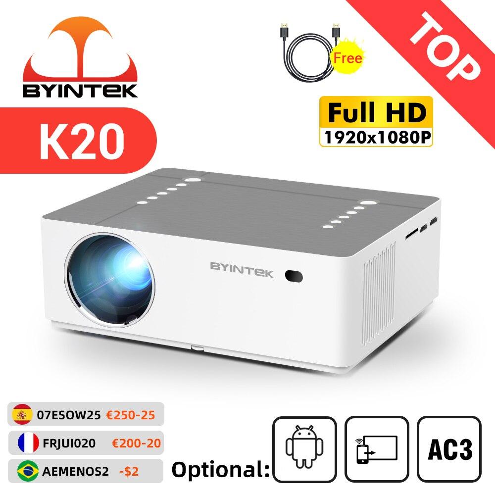 جهاز عرض byintk K20 عالي الدقة 1080P ثلاثي الأبعاد لعبة المسرح المنزلي LED فيديو ذكي أندرويد واي فاي 300 بوصة متعاطي المخدرات للسينما 4K